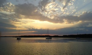 Sonnenuntergang auf Barhöft Reede